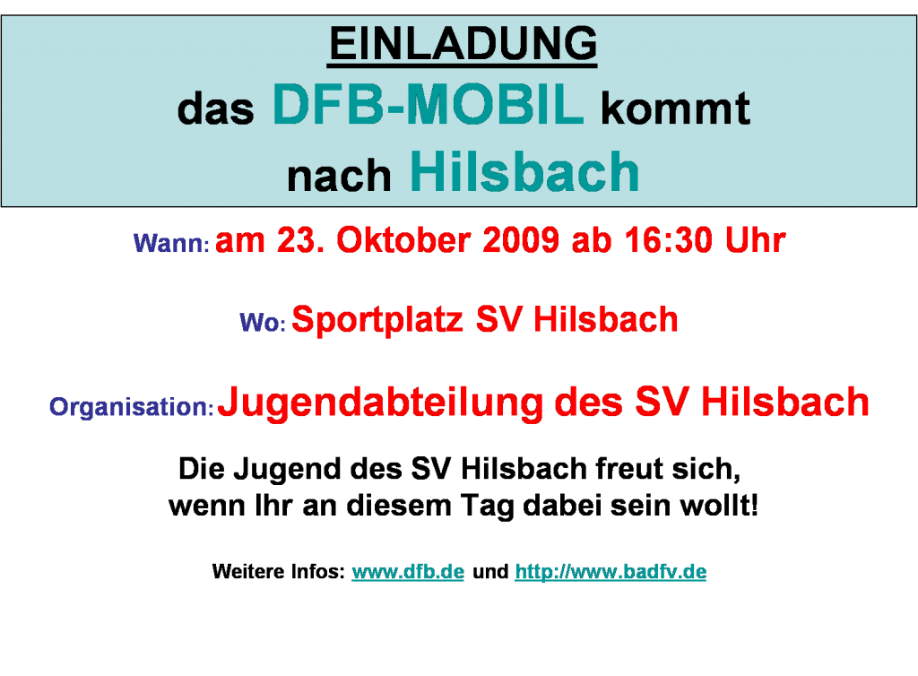 Das DFB Mobil kommt nach Hilsvach